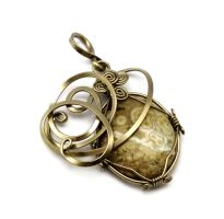 Wire Wrap Pendant with Ocean Jasper stone by hyppiechic