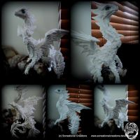 Handmade OOAK Large White Papermagiclay Dragon by SonsationalCreations