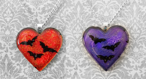 Red and Purple I heart Bats by HoneyCatJewelry
