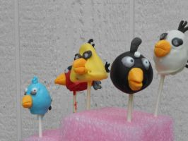 Angry Birds cake pops by MomIsMean
