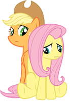 Applejack and Fluttershy: Dragonshy by GoblinEngineer