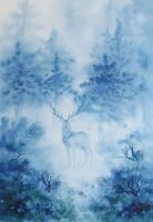 The Stag in the Mist. by SueMArt