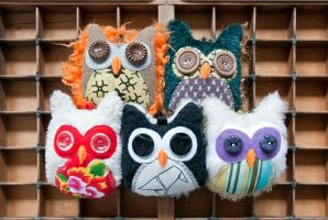Mini owls plushies by walking-cripple