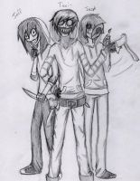 Ticci-Toby, Eyeless Jack, and Jeff The Killer. by Haven-Sollux
