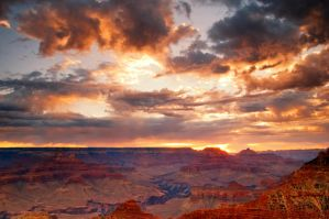 First Light Over Grand Canyon by steverobles