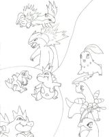 Gold and Silver starters by OctoberReign