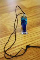 Blue Potion Bottle Pendant by icevalkyrie7