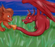 Dragon and a lions fight by catseathedevil