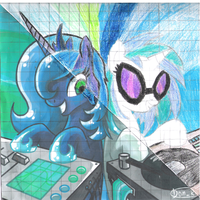 avatar re-drawing luna+vinyl by DJGoldNF