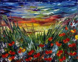 POPPIES FIELD SUNSET by ARTBYTERESA