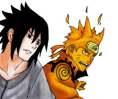 Sasuke and Naruto ~ They're Both Smiling by PicaBella