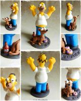 Homer Simpson with  Dog Commission by oOMetalbrideOo