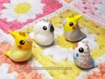 Custom Cockatoo, cockatiels and budgie clay charms by emmil