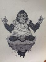 meditating Gorilla colored by thincrispycrust