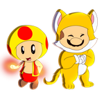 Collab cat mario and fire yellow toad by HG-The-Hamster