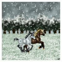 Silver and Gold in the Snow by harlequin-wondercat
