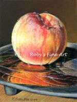 """Peach with Raku Plate""Realism by robybaer"