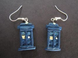 My own Tardis earrings by sonickingscrewdriver