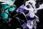 Fractal Reshiram and Zekrom by Cy-DarkNeKoiid