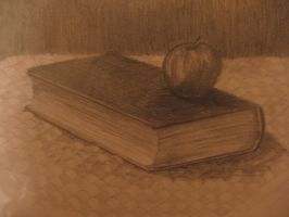 book and apple by pixierosie