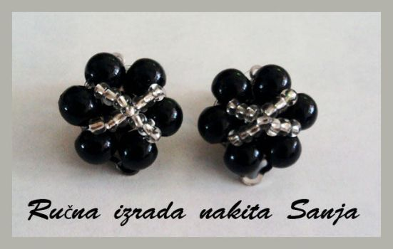 Black earrings by Sanjabeads