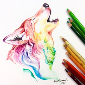 Colorful Howling Wolf by Lucky978