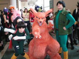 Kyuubi with Rock Lee and Guy by drag0nfeathers