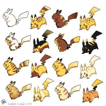 Pikachu variants by twapa