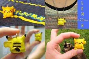Kawaii Pikachu Charm/Necklace by lemon-stockings