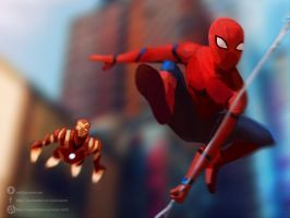 Spiderman and Iron man by nOki19