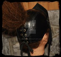 Leather Helmet armor back view by Lagueuse