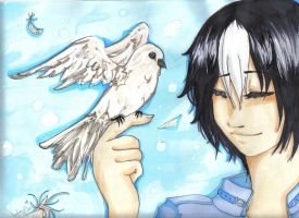 Boy and Bird by Shinsamasu