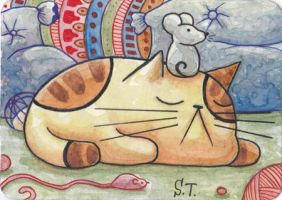 Cat and mouse ACEO ATC by Siriliya