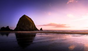 Dreamy Haystack Rock Sunset by Jorgipie