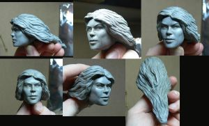 Supergirl head sculpt finished by Leebea