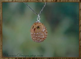 Ceramic Owl Pendant in Bronze, Gold and White by StephaniePride
