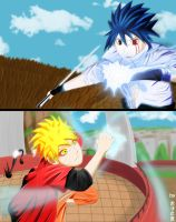 Naruto VS Sasuke by beckitach