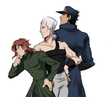 Jotaro, Kakyoin and Polnareff by Guppy-17