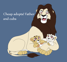 Father and Cubs Cheap Adoptables! by BlackWolf1112-ADOPTS