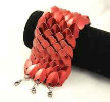 Red Scalemaille Cuff by SerenFey