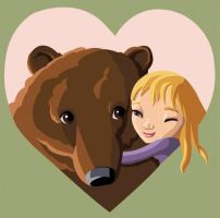 Girl And Bear by HeatherIhn