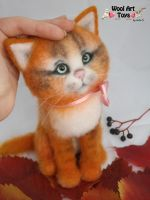 Needle felted red cat by WoolArtToys