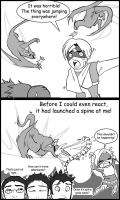Monster Hunter Comic Shooting Spines by macawnivore