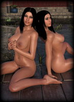 Hot Naked Girls / Teles Twins Japan Garden by gajeco