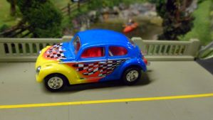 VW Beetle with Checkers and Flames by hankypanky68