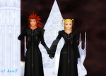 Axel And Larxene Hold Hands by kari5