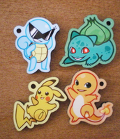 Pokemon: Kanto Starter Charms by StarryTumble