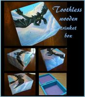 *SOLD* Toothless wooden trinket box by stephanie1600