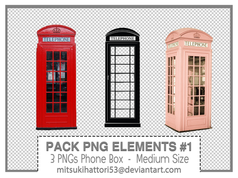 Pack PNG Elements #1: 3 PNGs Phone Box by mitsukihattori53
