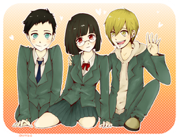 DRRR: mikado, anri and kida by skyna
